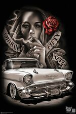 SMOKIN 57 - VINTAGE CAR POSTER - 24x36 SMOKING HOT GIRL 11295