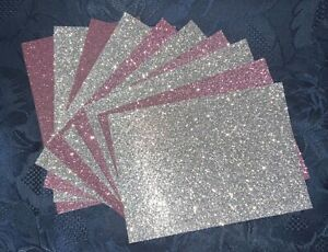 SMALL-10 x Glitter Card Sheets-A6/C6 250gsm Card  Dusky Pink/Silver/Defects