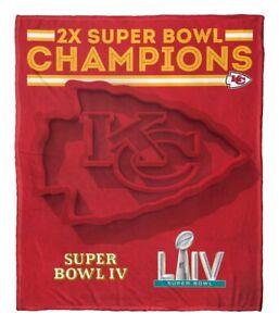 Kansas City Chiefs 2X NFL Super Bowl Champions HD Silk Touch 50x60 Throw Blanket