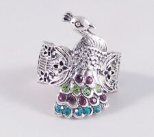 One New Silver Tone Peacock Stretch Ring With Colorful Genuine Crystals #R1069