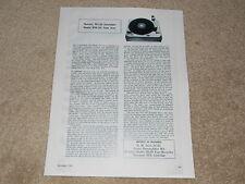 Thorens TD-135 Turntable, STD-12s Tonearm Review, 1 page, 1962,Rare Vintage Test