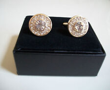 Men's Gold Finish Fashion Dressy/Casual Round Cuff Links 19 mm
