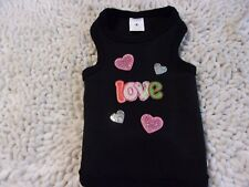 "dog shirt tank top,black,hearts&""Love"",Small**(size details in description)"