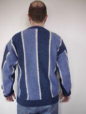 Vintage WOOLRICH Hygge Blue Striped Ragg WOOL Blend Crewneck Mens SWEATER L