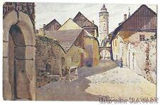 POSTCARD Czech Painting Domazlice Gate Branska Ulice medieval city architecture