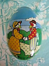 "vintage metal Easter Egg 5"" retro Bunnies Ducks 1985 candy container"