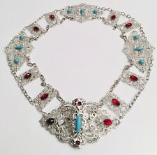 Vintage Estate 1980's Ruby Red Faux Turquoise Rhinestone Silver Runway Belt