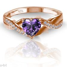 18k Rose Gold Plated Simulated Heart Cut Amethyst Diamond Infinity Ring