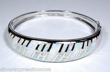Amazing Quality White Fire Opal Inlay Solid 925 Sterling Silver Bangle Bracelet