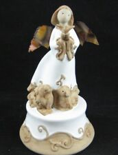 """Hand-Painted Clay Angel Music Box - Plays """"Hark the Herald Angels Sing"""""""