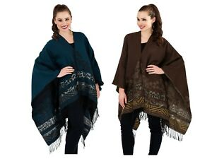 Womens Jacquard Knitted Poncho Ladies Winter Wrap Shawl Cape Scarf One Size