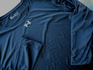 Under Armour Mens Heat Gear Athletic Shirt Sz 4XL Black Long Sleeve Loose Fit