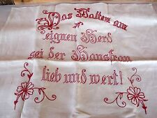 "Antique Turkey Redwork Embroidery Cloth German Housewife's Love Cooking 45""x22"""