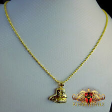 10K REAL GOLD ORTHODOX BOXER GLOVES MEN & WOMEN PENDANT FREE MOON CUT CHAIN SET
