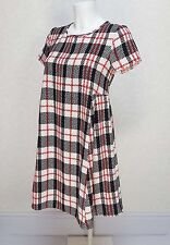 G21 GEORGE red white black Check high crew neck Mini swing A line shift dress 8