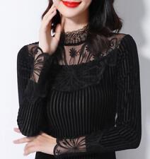 Women's Lace High Neck Plus Velvet Long Sleeve Fall Winter Slim Fit Blouses Tops