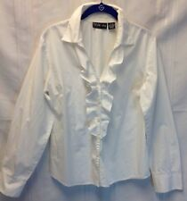 White Cotton Long Sleeve  Blouse Size 12 With Ruffles