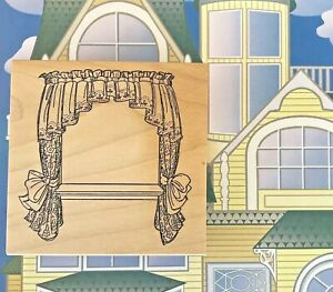 Art Impressions Window Wood Mounted Rubber Stamp Scene Building Winter Spring