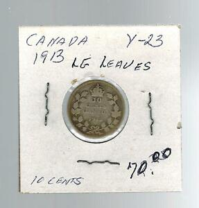 1913 Canada Ten Cents coin Y 23 Large Leaves