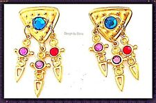 Museum-Brushed Gold-Swarovski Crystal-Multi-Color-Dangle-Liner -Charm Earring
