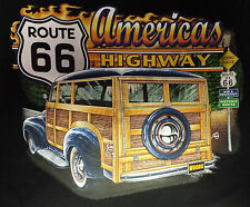T-Shirt #424 WOODIE HOT ROD PIN UP MILITARY ROUTE 66 BIKER SKULL USA ARMY