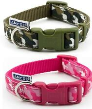 Ancol Indulgence Verde & Rosa Camuflaje Ajustable Nylon Perro Puppy Collar