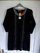 BNWT £18 black with grey trims stretchy knitted long-line top/dress SIZE 10/12