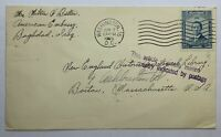 "1955 BAGHDAD IRAQ COVER TO BOSTON MA,  ""FOUND IN SUPPOSDELY EMPTY MAIL SACKS"""