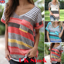 UK Womens Stripe Loose Casual Tops short sleeve T Shirt Blouse Ladies beach Top