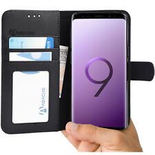 Black Wallet Case Flip Cover w/ Stand for Samsung Galaxy S9  -  by Abacus24-7