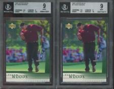 2001 Upper Deck Golf #1 Tiger Woods RC Rookie Mint BGS 9 Lot Of 2