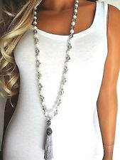 Trend Indien Orient traumhaft schöne lange Kette Malakette Perlen Quaste NEU