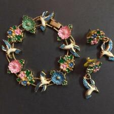 Vintage Enamel Goldtone Hummingbird Flowers Slider Charm Bracelet with Earrings