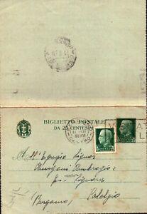 INTERO POSTALE 25 + 25 CENT. 1938 PER CALALZIO BERGAMO