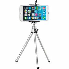 Stativ für Apple iPhone 5 5S 5C 6 Ständer Halterung Tripod Metall Foto silber