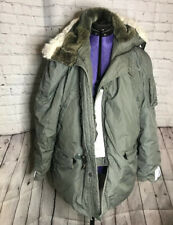 Vintage Army Extreme Cold Weather Parka With Synthetic Fur Hood Size Med