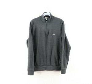 Lacoste Mens FR 4 US Medium Croc Logo Half Zip Pullover Sweater Charcoal Gray