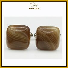 BOTSWANA AGATE NATURAL STONE CUFF LINK  MENS JEWELRY BROWN CUFFLINKS   (#45)