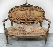 French Aubusson Louis XV Style Settee 19th c.