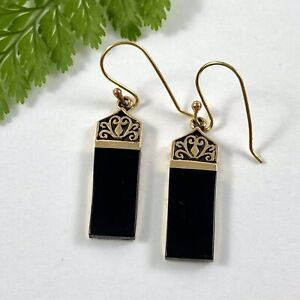 Striking Black Onyx Drop Earrings on Hooks Classic Design to Suit Most Ages