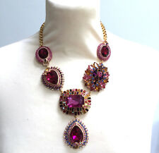 Butler and Wilson Pinks Crystal Elaborate Y Shape Necklace NEW