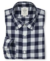 T.M.Lewin Blue White Gingham Heather Twill Casual Slim Fit Shirt XL TD098 LL 05