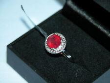 Lote 246 impresionantes Rubí + Diamante Anillo De Plata Esterlina Talla N 1/2 - RRP £ 181