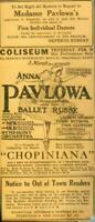 Advertising Madame Anna Pavlowa Ballet Russe Chopiniana Music Theatre 1924