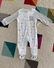 Macy's First Impressions Baby Footed Zipper Sleeper Zoo Animals Pastel 6-9 Month