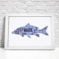 Personalised Word Art Carp Fish Fishing Fisherman Print Frame Gift For Him