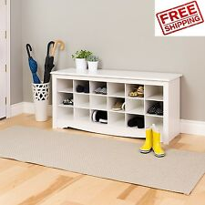 Shoe Storage Bench White Cubbie Organizer Entryway Hallway Wood Rack Entry Cubby