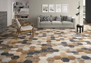 8.75x10 Matterhorn Hexagon Collection Vintage Wood Mix Porcelain Wall Floor Tile