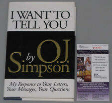 "OJ SIMPSON Hand Signed Book  ""I WANT TO TELL YOU"" + JSA COA * BUY GENUINE *"