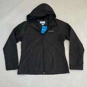 NWT Women's Columbia Zuma Stack II Jacket Hooded Windbreaker Rain Coat Black L